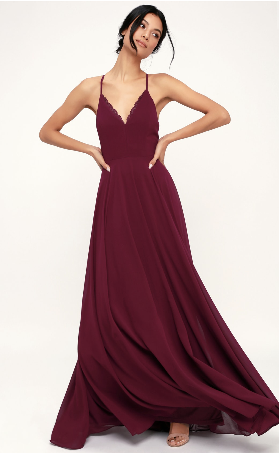 165cbeca26d7 Revolve X by NBD Felicity Embroidered Dress in Blush $288 · Lulu's Lovely  Burgundy Maxi Dress $86